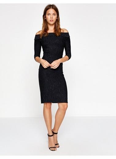 Koton Omzu Açık Kalem Elbise Siyah